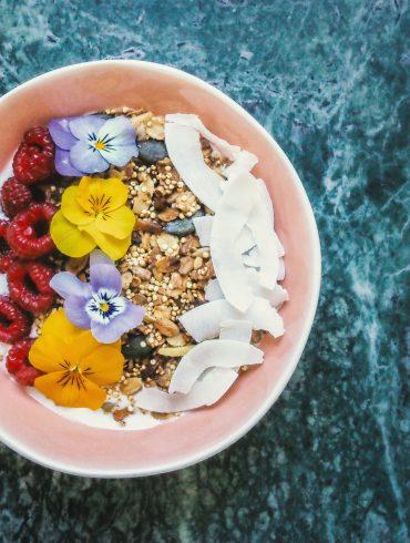food in pink bowl